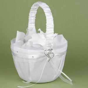 Heartfelt Whimsy White Satin Flower Girl Basket image