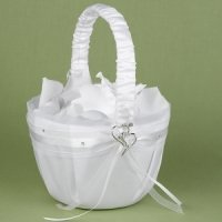 Heartfelt Whimsy White Satin Flower Girl Basket