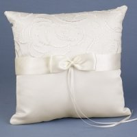 Satin & Swirls Wedding Ring Pillow (White or Ivory)