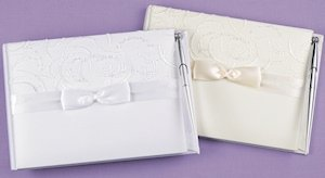 Satin & Swirls Wedding Guest Book Set (White or Ivory) image