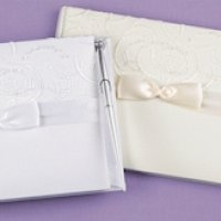 Satin & Swirls Wedding Guest Book Set (White or Ivory)