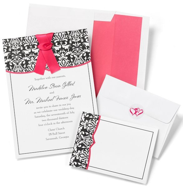 Diy Wedding Invitations Kits: Damask With Fuchsia DIY Wedding Invitation Kit (Set Of 50