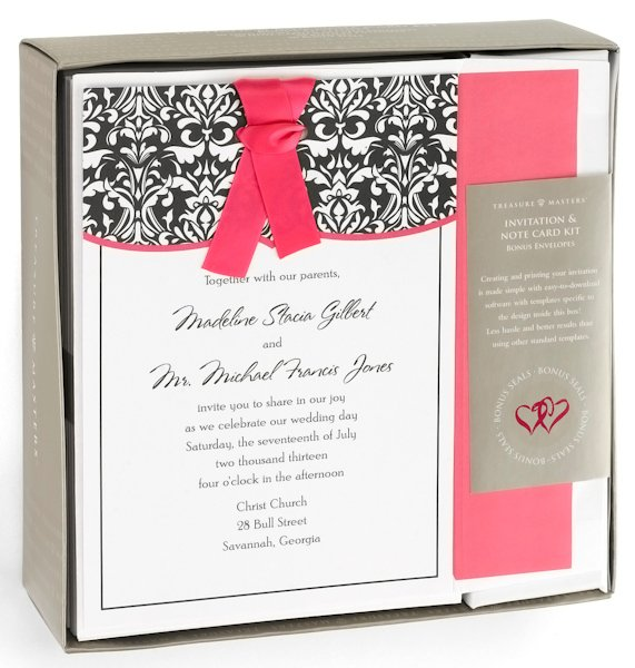 Wedding Invitation Diy Kits: Damask With Fuchsia DIY Wedding Invitation Kit (Set Of 50