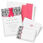 Damask with Fuchsia DIY Wedding Invitation Kit (Set of 50)