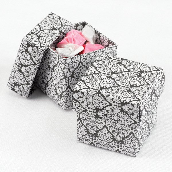 Damask Wedding Favor Boxes : Mix and match two piece damask favor boxes set of