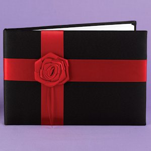Midnight Rose Red and Black Wedding Guest Book image