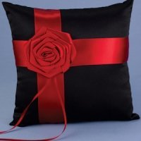 Midnight Rose Red and Black Ring Bearer Pillow