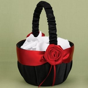 Midnight Rose Red and Black Flower Girl Basket image