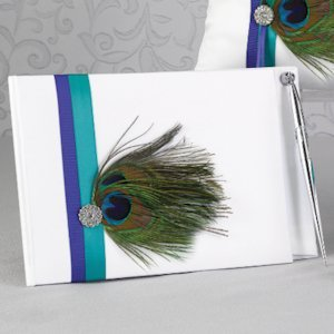 Peacock Plume Wedding Guest Book with Pen image