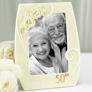 50th Porcelain Frame with Roses image