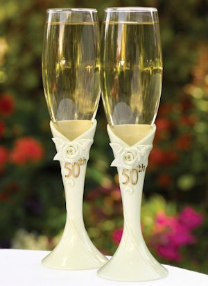 Pearl Rose 50th Anniversary Champagne Flutes image