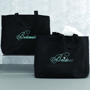 Black and Aqua Bridal Party Tote Bags image