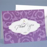 Wedding Gown Purple Damask Thank You Cards