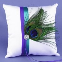 Peacock Plume Ring Bearer Pillow