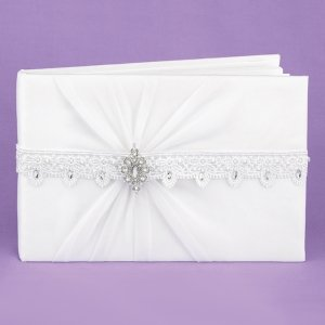 White Sparkling Elegance Wedding Guest Book image