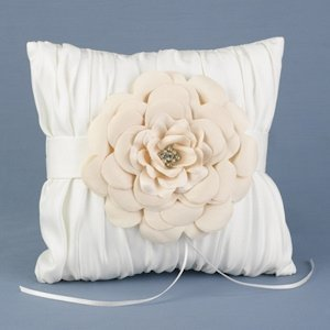 Love Blooms Ivory Ring Bearer Pillow image