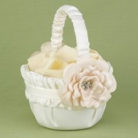 Love Blooms Ivory Flower Girl Basket