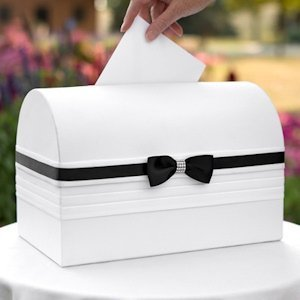 Refined Romance Black and White Wedding Card Box image