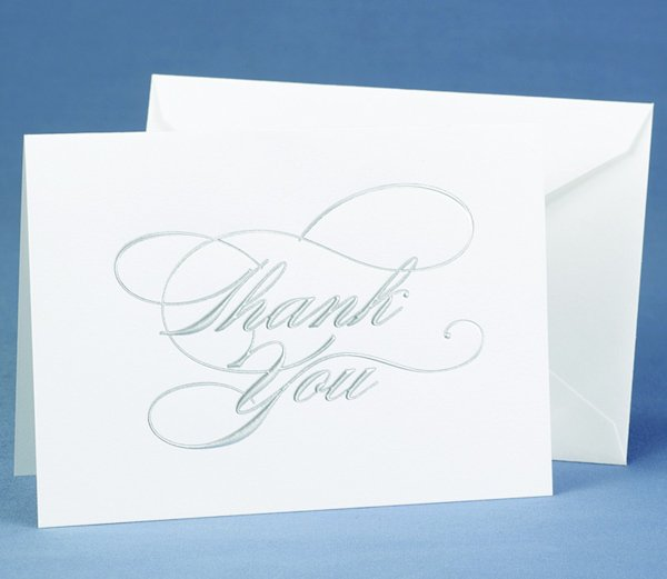 Silver Script Wedding Gift Thank You Cards (Set of 50)