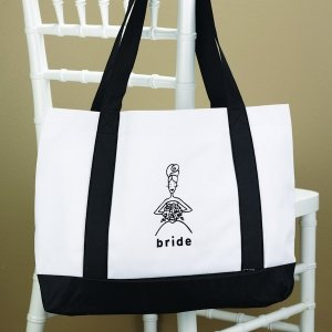 White Amp Black Wedding Party Tote Bags
