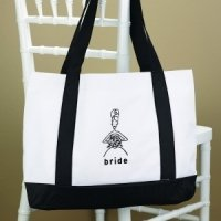 White & Black Wedding Party Tote Bags