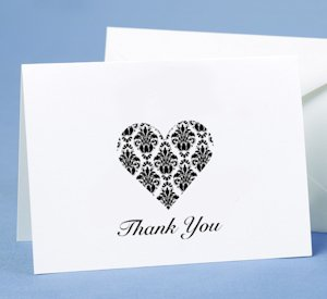 Black & White Damask Heart Thank You Cards image