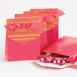 Pink and Orange Chevron Tent Favor Boxes (Set of 25) image