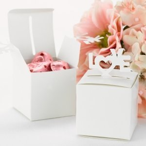 White Pop-Up Love Wedding Favor Boxes (Set of 25) image