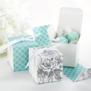 Gray and Aqua Floral Wrap Boxes (Set of 25) image
