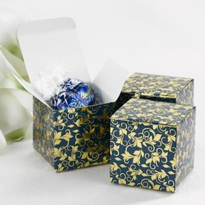 Navy and Gold Foil Patterned Boxes (Set of 25) image