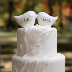 Porcelain Mr and Mrs Love Bird Cake Topper image