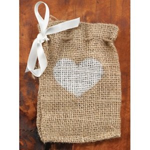 Heart Burlap Favor Bags (Set of 25) image
