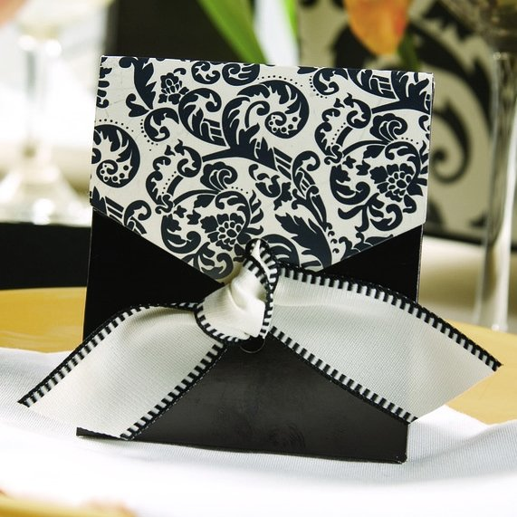 Damask Wedding Favor Boxes : Black ivory damask favor boxes set of