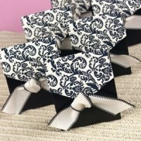 Black & Ivory Damask Favor Boxes (Set of 25)