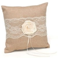 Rustic Country Burlap Ring Pillow