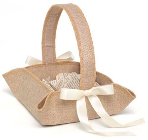 Rustic Country Burlap Flower Girl Basket image