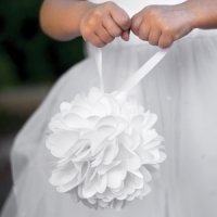 White / Burlap Kissing Ball (Flower Girl Basket Alternative)