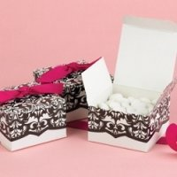 White & Black Flourish Favor Boxes (Set of 25)