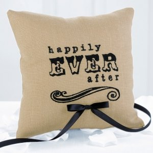 Happily Ever After Linen Ring Pillow image