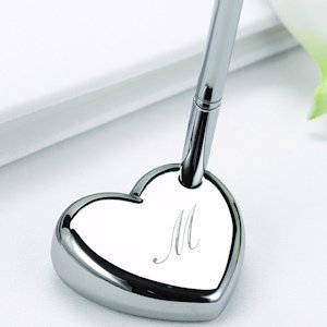 Engraved Heart Shaped Wedding Pen Set image