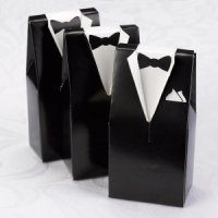 Black Tux Wedding Favor Boxes (Set of 25)