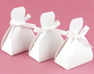 White Wedding Dress Favor Boxes (Set of 25) image