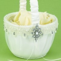 Ivory Sparkling Elegance Wedding Flower Basket