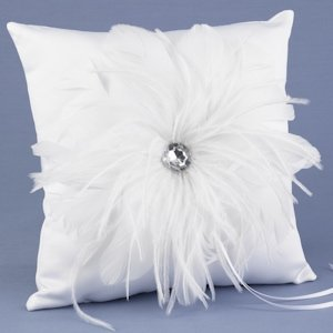 Feathered Flair Wedding Ring Bearer Pillow image