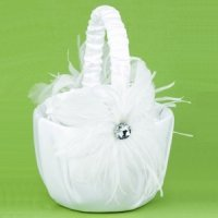 Feathered Flair Basket for Flower Girls