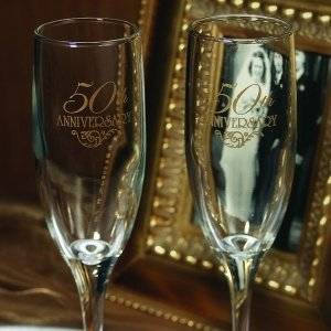 50th Wedding Anniversary Champagne Toasting Flutes image