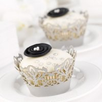 Silver Damask Cupcake Wrappers for Weddings (Set of 25)