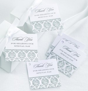 Damask Black and Silver 'Thank You' Favor Cards image