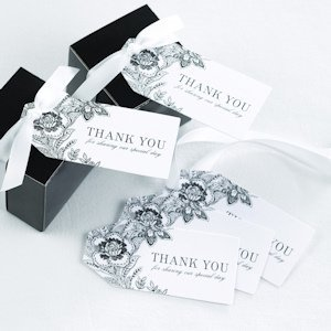 Vintage Floral Thank You Wedding Favor Tags (Set of 25) image