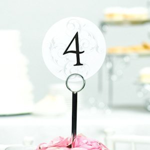 Round Table Number Cards with Filigree Background image